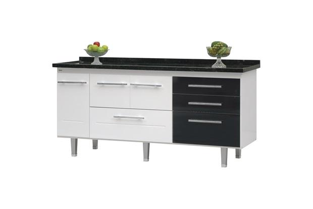 Gabinete para Cozinha em Mdf Life 180cm Branco E Preto - Bonatto