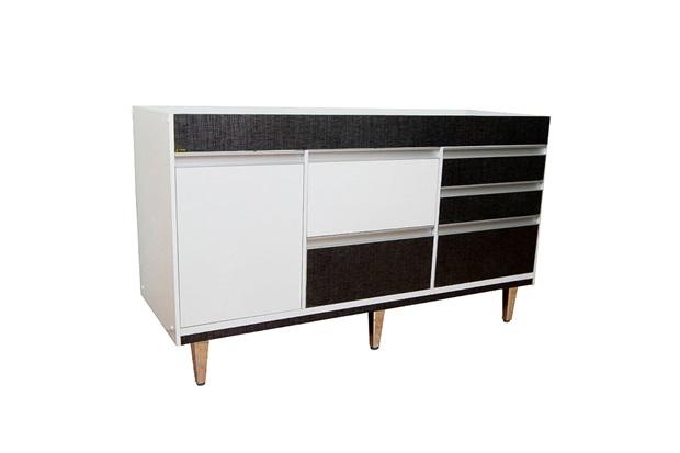 Gabinete para Cozinha em Mdf Viseu 86,5x150cm Branco E Cromo - Irmãos Corso