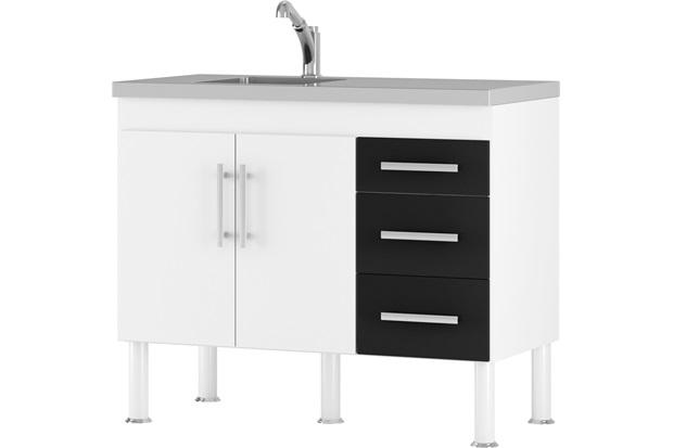 Gabinete para Cozinha em Mdp Flex 114x80cm Branco E Preto - MGM Móveis