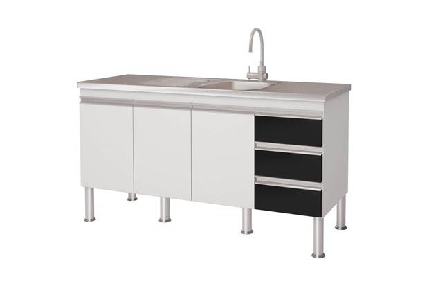 Gabinete para Cozinha em Mdp Ibiza 80x143,5cm Branco E Preto - MGM Móveis