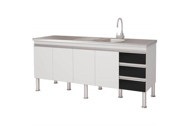 Gabinete para Cozinha em Mdp Ibiza 80x173,5cm Branco E Preto - MGM Móveis