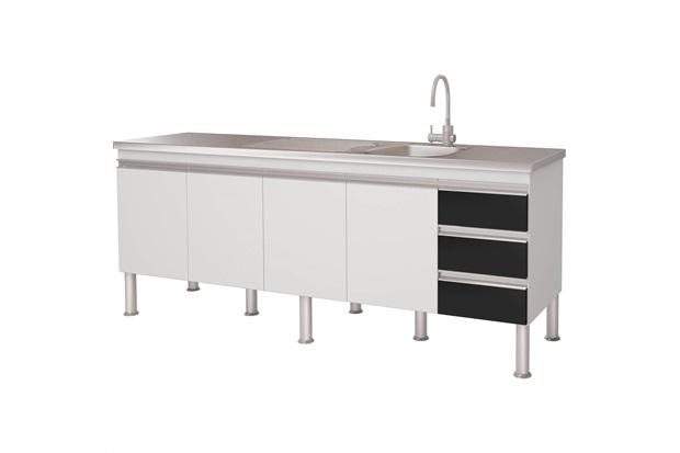 Gabinete para Cozinha em Mdp Ibiza 80x193,5cm Branco E Preto - MGM