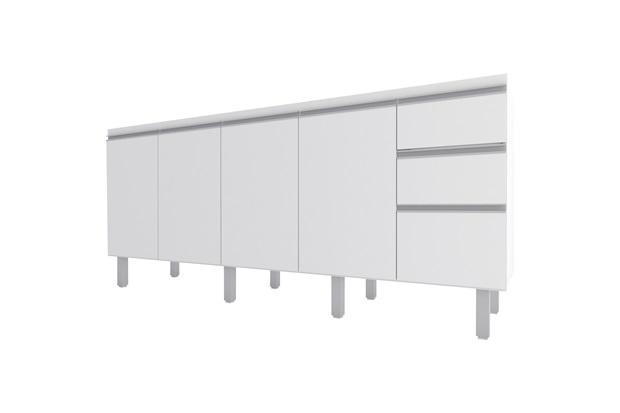 Gabinete para Cozinha em Mdp Potira para Pia de 180cm Branco - Cozimax