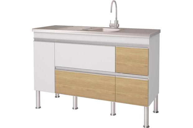 Gabinete para Cozinha em Mdp Prisma 143,5x86cm Branco E Nogueira - MGM Móveis