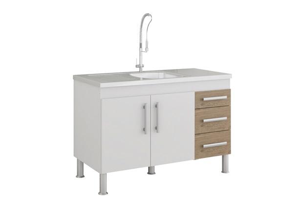 Gabinete para Cozinha Flex 80x114cm Branco E Carvalho - MGM