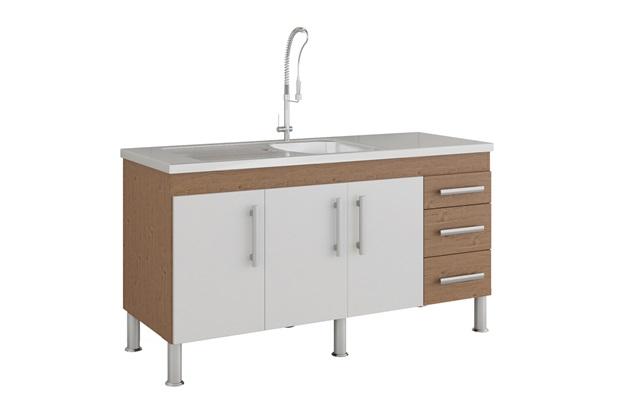 Gabinete para Cozinha Flex 80x144cm Amêndoa E Branco - MGM Móveis