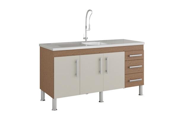 Gabinete para Cozinha Flex 80x144cm Amêndoa E Off White - MGM Móveis