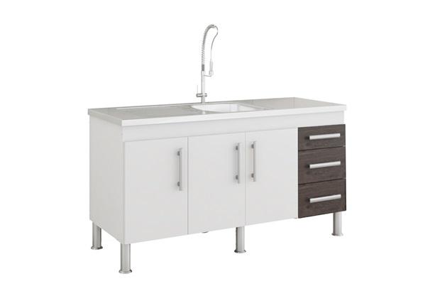 Gabinete para Cozinha Flex 80x144cm Branco E Café - MGM