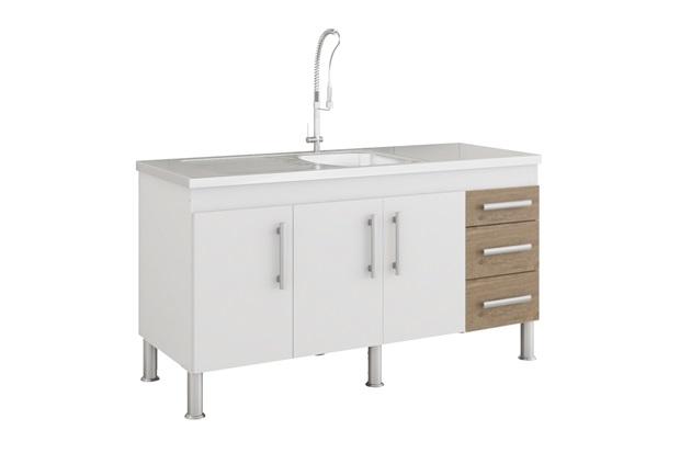Gabinete para Cozinha Flex 80x144cm Branco E Carvalho - MGM