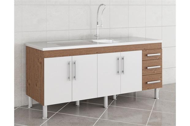 Gabinete para Cozinha Flex 80x174cm Amêndoa E Branco - MGM Móveis