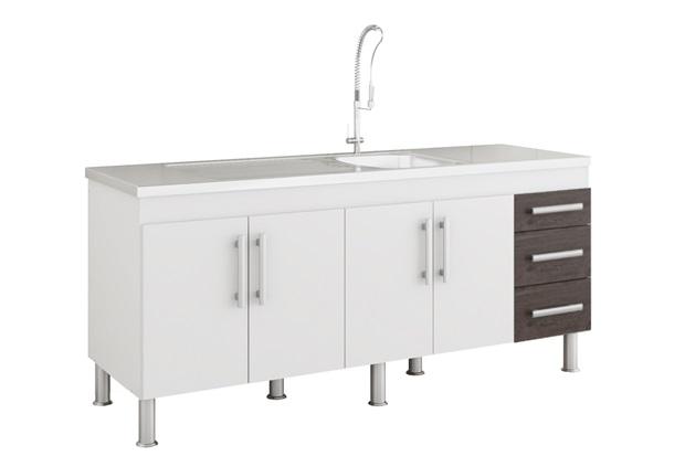 Gabinete para Cozinha Flex 80x174cm Branco E Café - MGM Móveis