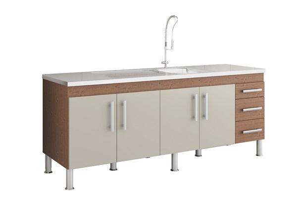 Gabinete para Cozinha Flex 80x194cm Amêndoa E Off White - MGM Móveis