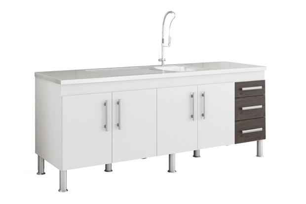 Gabinete para Cozinha Flex 80x194cm Branco E Café - MGM