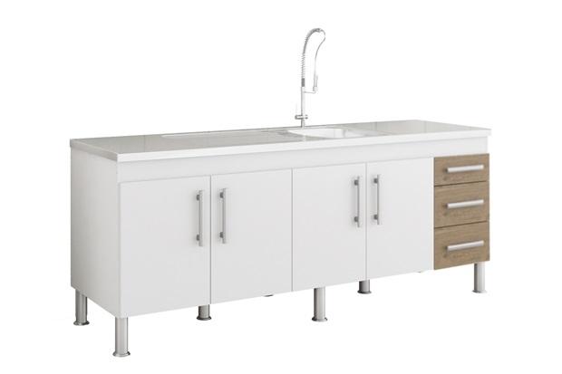 Gabinete para Cozinha Flex 80x194cm Branco E Carvalho - MGM Móveis