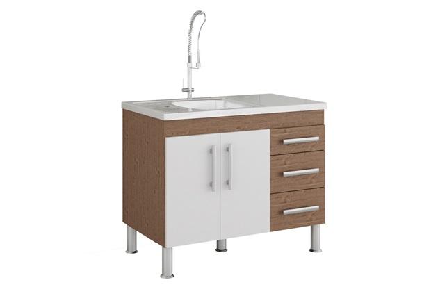 Gabinete para Cozinha Flex 80x94cm Amêndoa E Branco - MGM Móveis