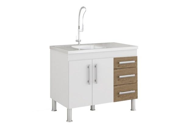 Gabinete para Cozinha Flex 80x94cm Branco E Carvalho - MGM Móveis