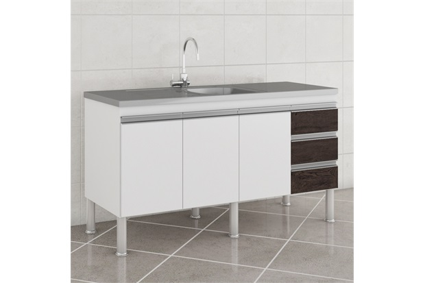 Gabinete para Cozinha Ibiza 80x144cm Branco E Café - MGM Móveis