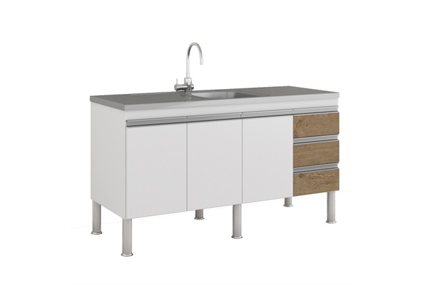 Gabinete para Cozinha Ibiza 80x144cm Branco E Carvalho - MGM Móveis