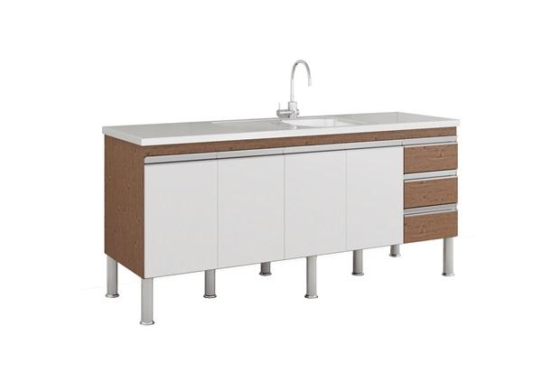 Gabinete para Cozinha Ibiza 80x174cm Amêndoa E Branco - MGM Móveis