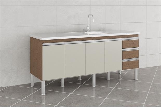 Gabinete para Cozinha Ibiza 80x174cm Amêndoa E Off White - MGM Móveis