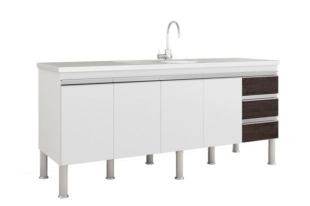 Gabinete para Cozinha Ibiza 80x174cm Branco E Café - MGM Móveis