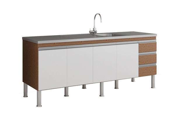 Gabinete para Cozinha Ibiza 80x194cm Amêndoa E Branco - MGM