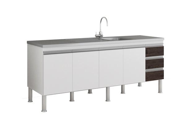 Gabinete para Cozinha Ibiza 80x194cm Branco E Café - MGM Móveis