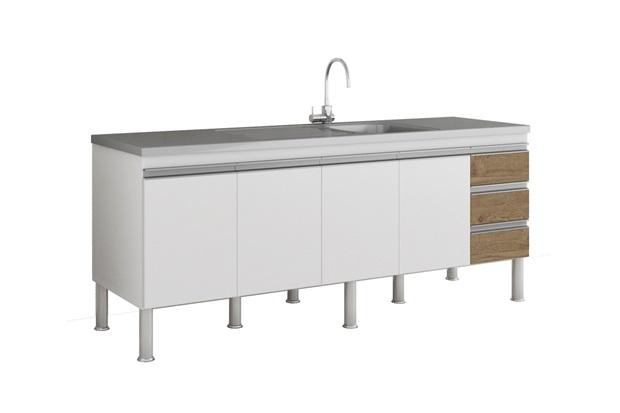 Gabinete para Cozinha Ibiza 80x194cm Branco E Carvalho - MGM
