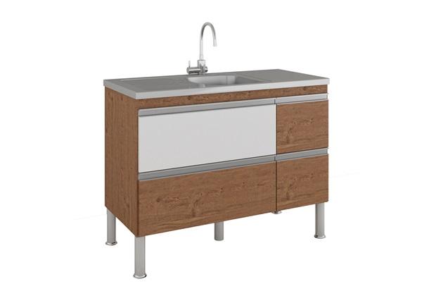 Gabinete para Cozinha Prisma 86x114cm Amêndoa E Branco - MGM