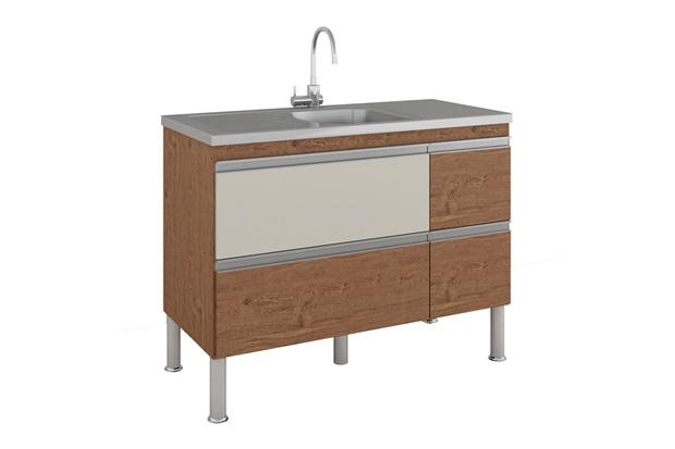 Gabinete para Cozinha Prisma 86x114cm Amêndoa E Off White - MGM Móveis