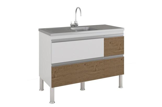 Gabinete para Cozinha Prisma 86x114cm Branco E Carvalho - MGM Móveis