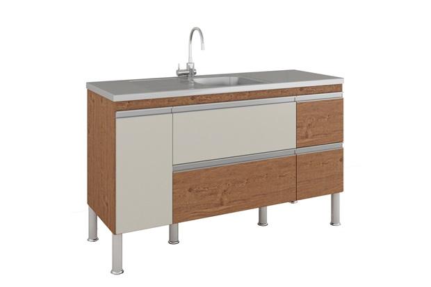 Gabinete para Cozinha Prisma 86x144cm Amêndoa E Off White - MGM Móveis