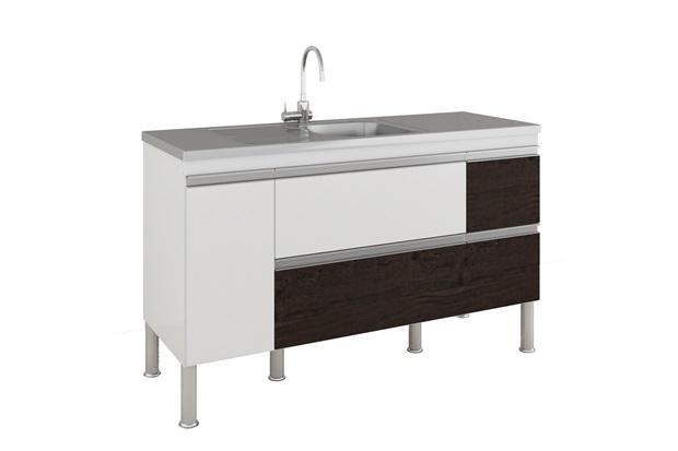 Gabinete para Cozinha Prisma 86x144cm Branco E Café - MGM
