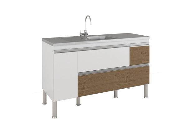 Gabinete para Cozinha Prisma 86x144cm Branco E Carvalho - MGM Móveis