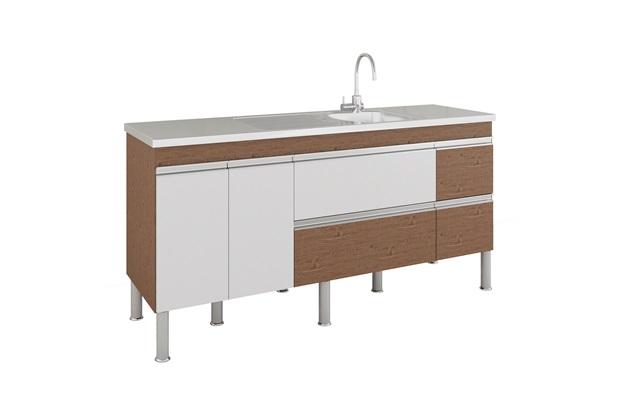 Gabinete para Cozinha Prisma 86x174cm Amêndoa E Branco - MGM