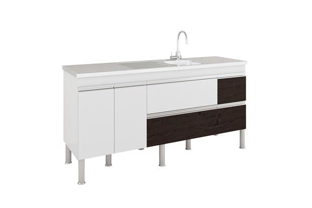 Gabinete para Cozinha Prisma 86x174cm Branco E Café - MGM Móveis