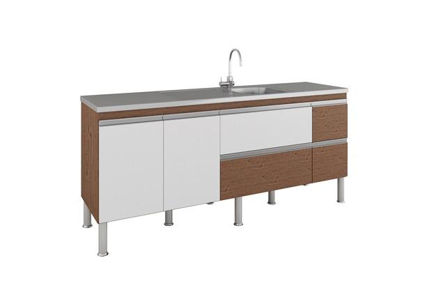 Gabinete para Cozinha Prisma 86x194cm Amêndoa E Branco - MGM