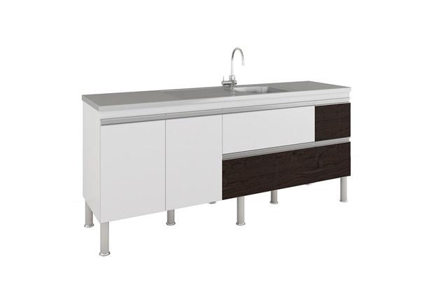 Gabinete para Cozinha Prisma 86x194cm Branco E Café - MGM