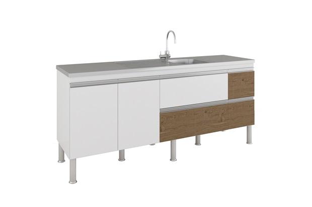 Gabinete para Cozinha Prisma 86x194cm Branco E Carvalho - MGM Móveis