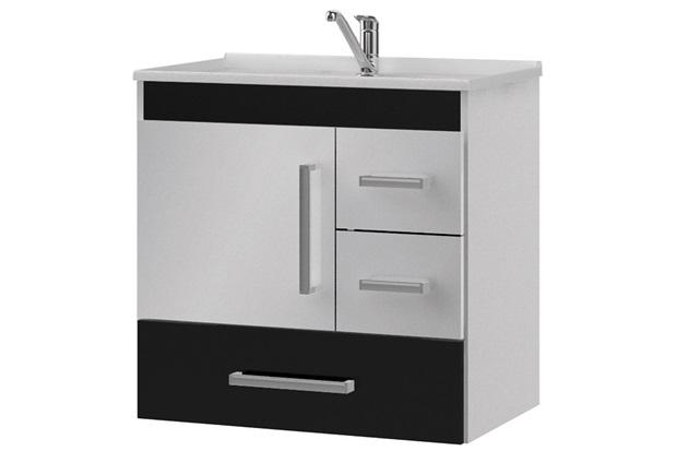 Gabinete Suspenso para Banheiro com Tampo Florença 60x56cm Preto - MGM Móveis