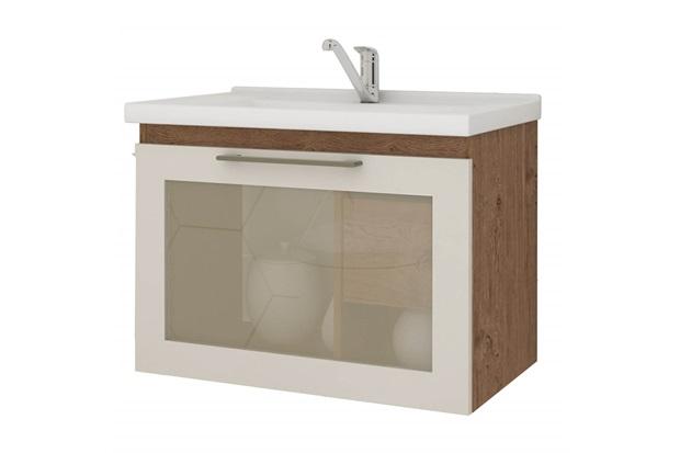 Gabinete Suspenso para Banheiro Hibisco 44x59cm Amêndoa E Off White - MGM
