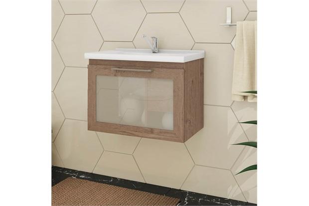 Gabinete Suspenso para Banheiro Hibisco 44x59cm Amêndoa - MGM