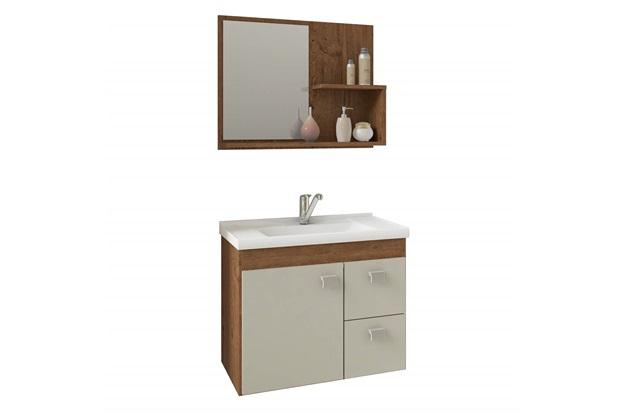 Gabinete Suspenso para Banheiro Hortência 46x55cm Amêndoa E Off White - MGM