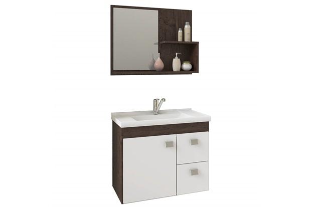 Gabinete Suspenso para Banheiro Hortência 46x55cm Branco E Café - MGM