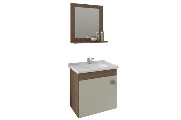 Gabinete Suspenso para Banheiro Íris 46x44,8cm Amêndoa E Off White - MGM