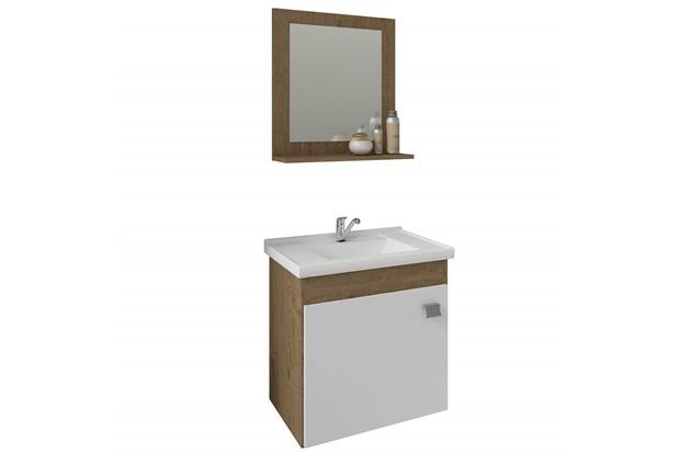 Gabinete Suspenso para Banheiro Íris 46x44,8cm Branco E Carvalho - MGM