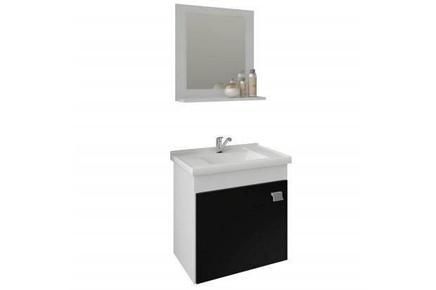 Gabinete Suspenso para Banheiro Íris 46x44,8cm Branco E Preto - MGM