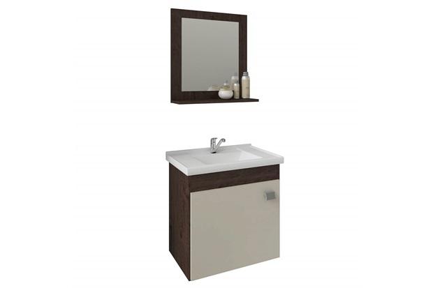 Gabinete Suspenso para Banheiro Íris 46x44,8cm Café E Off White - MGM