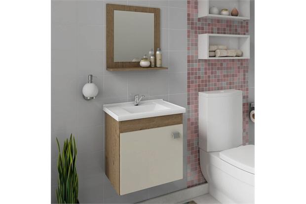 Gabinete Suspenso para Banheiro Íris 46x44,8cm Carvalho E Off White - MGM