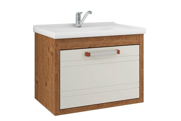 Gabinete Suspenso para Banheiro Jade 44x59cm Amêndoa E Off White - MGM